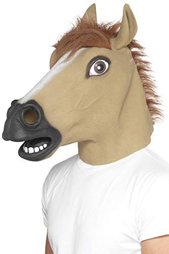 Kostüm Kopf Pferd Maske - Smiffys Unisex Pferde Gesichtsmaske, Ganzer Kopf, Latex, One Size, Braun, 39509