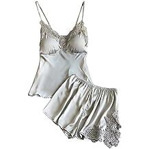 Lannister Fashion Pijama Verano Mujer Corto Pantalon Pijama Y Sin Mangas V Cuello Ropa Interior Camison