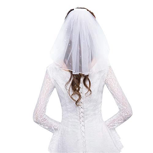 JERKKY Tüll Brautkleid Schleier White Ribbon Edge Strass Gefälschte Perlen Kurze Braut Haarschleier Kamm Braut Fee Hochzeit Zubehör Strass - Perlen Kurz