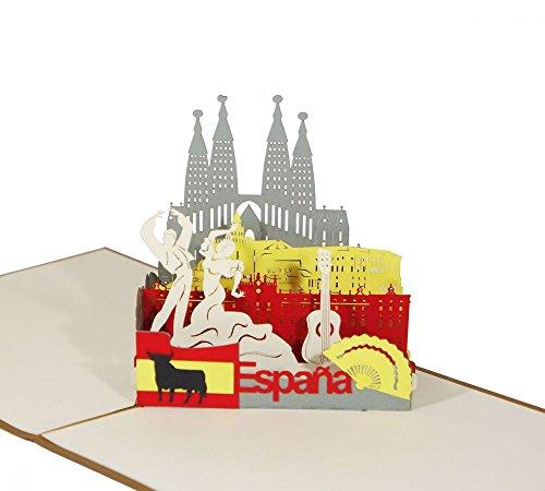 """3D KARTE""""Spanien"""" I Pop-Up Karte als Reisegutschein I Klappkarte als Andenken oder Geldgeschenk"""