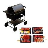 FLAMEER 1/12 Puppenhaus Miniatur Metall Küche Picknick BBQ Grillwagen mit Barbecue Hühnchen Kebab, Oktopus, Hühnerflügel, Karausche auf Grill Essen Modell