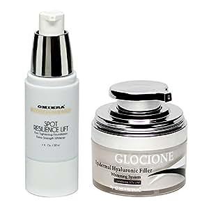 Crema Antirughe per il viso, Crema Sbiancante, Glocione, Da Omiera Labs, Insieme di cura della pelle di 2 parti