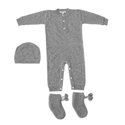 Baby Body, Set Baby Cashmere 100% Cashmere con berretto e scarpine, Baby Cashmere della Mongolia Grigio Grey 6 mesi