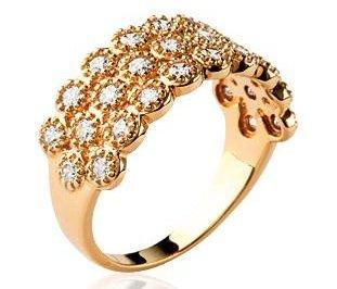 Anello di oro a forma di cuore grande, perfettamente brillanti, ornato con zirconi bianchi, collezione: scacchi, placcato oro, 20, colore: oro, cod. 265izi1545