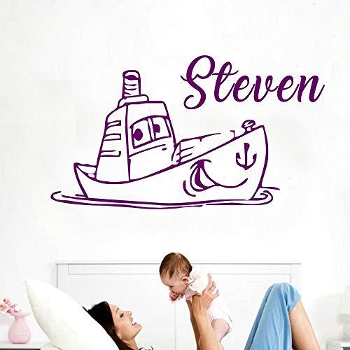 Wandaufkleber Schöne Boot Mit Niedlichen Gesicht Kindergarten Name Nach Maß Kinderzimmer Mode Abnehmbare Wandtattoo Poster DIY Dekor 23 * 42 cm