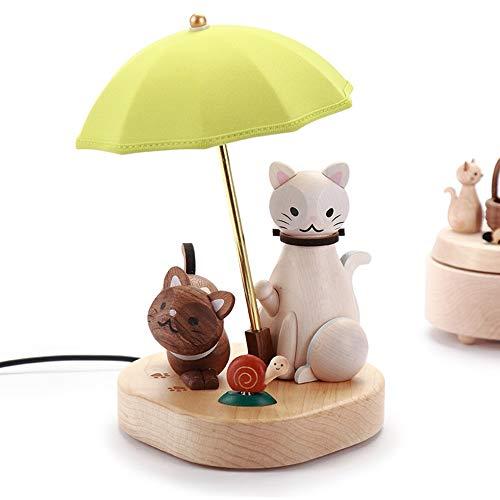 YANKAN Led-Nachtlicht,Weihnachten Deko Licht,HöLzerne Kleine Nacht FüHrte Dekorativen Kleinen Schreibtisch Lampe Kreative Katze (USB) -