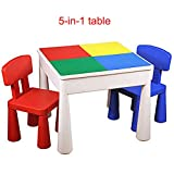 ZH Tavolo da Gioco per Bambini E Sedia Set, Tavolo da Costruzioni Multifunzione 5 in 1, Scrittura, Acqua, Sabbia E Stoccaggio, con 2 Sedie