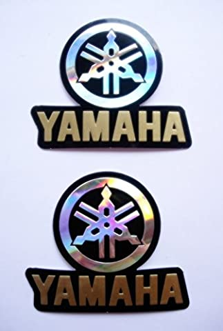 3D gold / chrome YAMAHA #2 stickers decals - set of 2 pieces