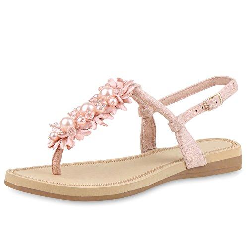 SCARPE VITA Damen Sandalen Zehentrenner Blumen Zierperlen Sommer Schuhe 161650 Rosa Zierperlen 37 -