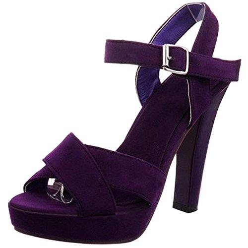 TAOFFEN Femme Mode Plateforme Talon Haut Sandales Sangle De Cheville Boucle Sandales 1029 violet