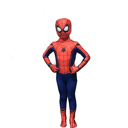 ZHANGQI Spider-Man Cosplay Kostüm Body Overalls Cosplay Anime Kostüm Performance Kostüm Blau Und Rot Erwachsene Kinder,Child-L (Mary Jane Kostüm Von Spider Mann)