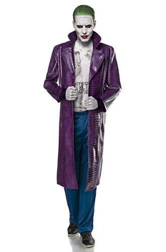 Fasching-Kostüm `Suicide Joker` by ALISERA & MASK PARADISE - Set: Mantel, Hose - langer Mantel in Krokoleder-Optik - A80088, (Joker Kostüm Lila Hose)