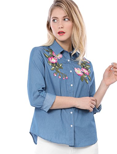 Allegra K Damen Blumen Stickerei Applique Taste Unter Chambray Shirt, M (EU 40)/Blue (Chambray-taste)