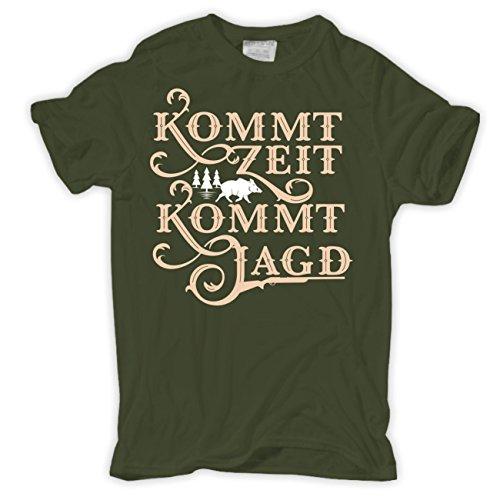 Männer und Herren T-Shirt Kommt Zeit kommt Jagd (mit Rückendruck) Olive