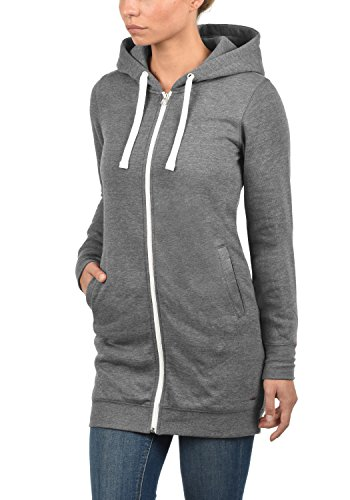 DESIRES Derby Long - Sweat à capuche zippé - Femme Grey Melange (8236)