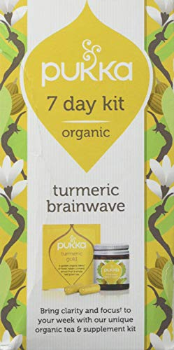 Pukka Herbs 7 Day Brainwave Kit, Turmeric Tea and Supplements with Brahmi and Gotu Kola