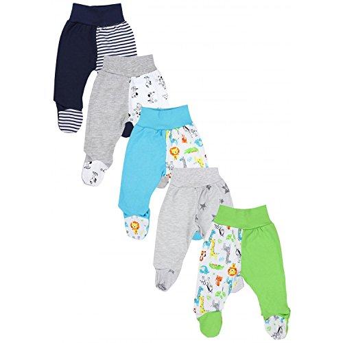 TupTam Unisex Baby Hose mit Fuß Bunte Strampelhose 5er Pack, Farbe: Junge 4, Größe: 68