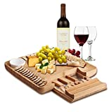 Natural Bamboo Cheese Board & Charcuterie Platter with Two Ramekans for Dips and Hidden Drawer for Cutlery Set - Perfect Cheese Platter for Birthday Gifts, Wedding, Housewarming Gift, Mom