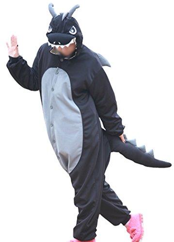 wotogold Tier Schwarzer Drachen Pyjama Unisex Erwachsene Cosplay Kostüme with Horn Black
