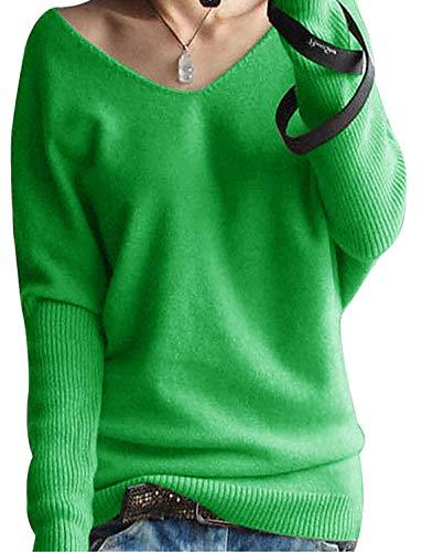 Yidarton Damen Mode Kaschmir Pullover übergroße Lose Langen Ärmeln V-Ausschnitt Fledermausflügel Herbst und Winter Warm Strickpullover (Grün, L)