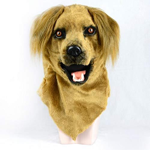 Männer Furries Kostüm - WENQU Halloween-Simulationsgelber Hund Maske hoher Kaliber bewegliche Mund-Geschöpf-Masken (Color : Yellow, Size : 25 * 25)