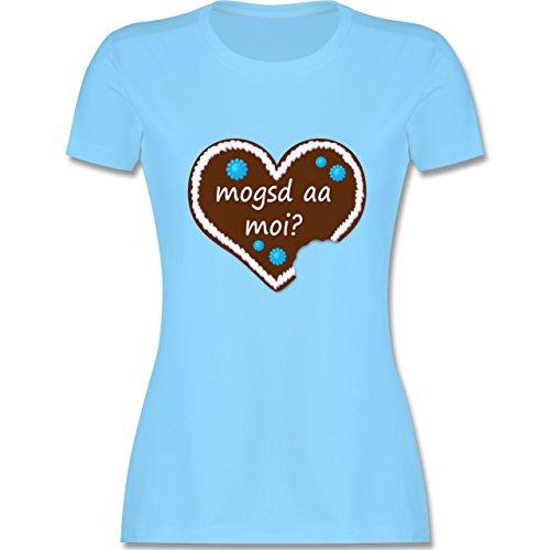 Oktoberfest Damen - Lebkuchenherz mogsd a moi zum anbeißen - tailliertes Premium T-Shirt mit Rundhalsausschnitt für Damen Hellblau