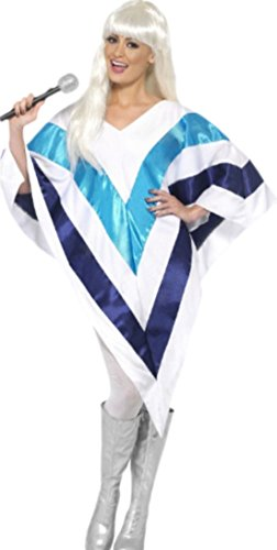 Confettery - Damen ABBA Pareo Kostüm Karneval Fasching blau gestreift, 38-42, One Size, Weiß