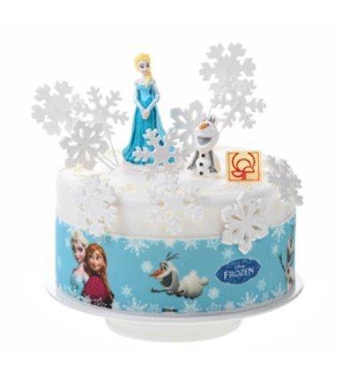 Ruban décor coutour disque pour gateau thème disney LA REINE DES NEIGES ANA ELSA OLAF pour décoration de gâteau anniversaire - diamètre 28cm hauteur 6.6 cm