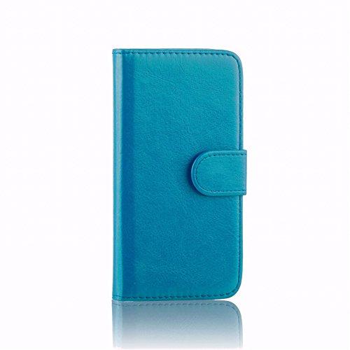 32nd PU Leder Mappen Hülle Flip Case Cover für Alcatel Pixi 4 (4.0), Ledertasche hüllen mit Magnetverschluss und Kartensteckplatz - HellBlau