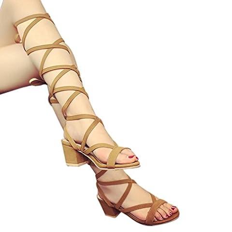 Transer® Damen Keilabsatz Römersandalen Sandalen Offene Knie Hanf+Kunststoff Sommer Stiefel