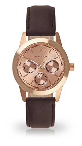 YVES CAMANI MADELAINE Women's Wrist Watch Quartz Analog Rosegold Stainless Steel Case Rosegold Dial (Leather - Brown)