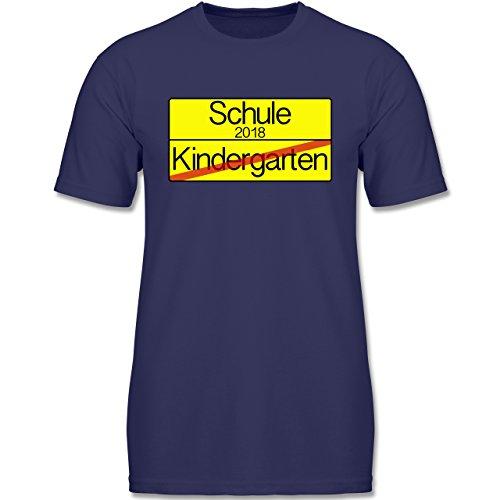 Einschulung - Ortsschild Verkehrsschild Schule 2018 Kindergarten - 128 (7-8 Jahre) - Navy Blau - F140K - Jungen T-Shirt (Leben Jungen Ist Das Für Gut-shirt)