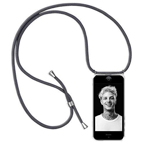 Zhinkarts Handykette kompatibel mit Apple iPhone 5 / 5S / SE - Smartphone Necklace Hülle mit Band - Schnur mit Case zum umhängen in Dunkelgrau