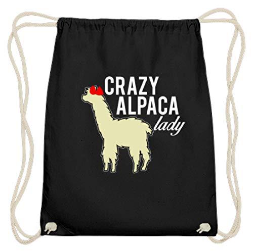 Crazy Alpaca Lady - Alpaca mit Blume - Baumwoll Gymsac