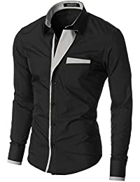 MODERNO Chemise Homme Casual Slim Fit Mode Manches Longues Col Classique (VGDS41LS)