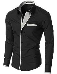Idea Regalo - MODERNO - Camicia Casual Uomo Nero EU L