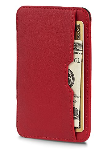 Chelsea Slim Card Sleeve Wallet with RFID Protection by Vaultskin – Top Quality Italian Leather – Ultra Thin Card Holder Design For Up To 12 Cards (Carmine Red)