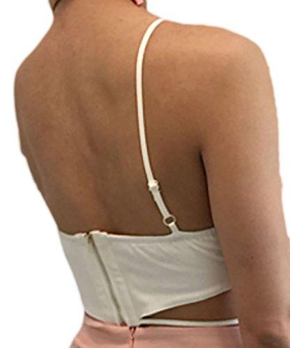 erdbeerloft Damen Bandeau Bustier Crop Top mit Cut Outs, XSM, Viele Farben  Weiß