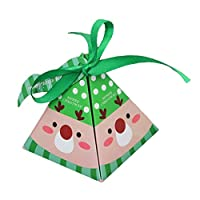 Amyline 10pcs Christmas Candy Gift Box, Christmas Paper Boxes DIY Gift Cake Paper Boxes Packaging Xmas Party Treats Gift Party Dessert Cookie Packaging Festival Holiday Christmas Eve Gift (green)