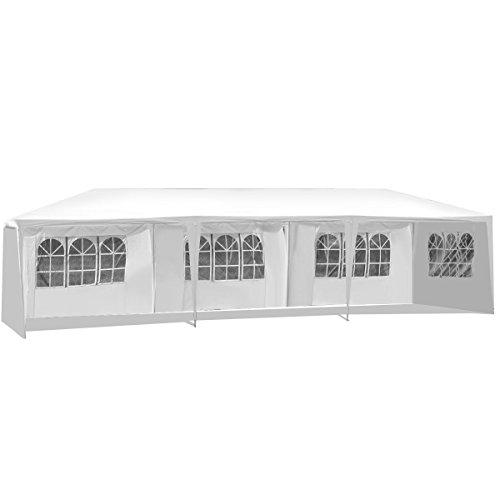DREAMADE Partyzelt 3x9 m, Hochzeit Festzelt mit 5 Seitenwände, Partypavillon, Gartenpavillon mit Fenster/UV Schutz/Party/Garten/verstellbar/wasserabweisend/Weiß