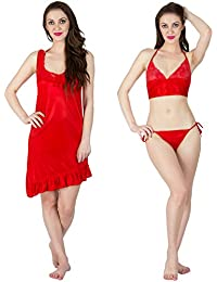 Bombshell 3pc Set Satin Short Nighty With Lingerie
