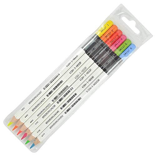 KOH-I-NOOR Textmarker-Bleistift in Neonfarben, farblich sortiert (6 Stück)