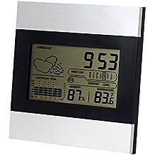 Termohigrómetro digital, Sounor Alarma de climatización ambiental del tiempo del reloj de estación digital de interior Higrotermógrafo digital, la temperatura y la humedad de múltiples funciones de los instrumentos con los MIN / MAX Records LCD grande