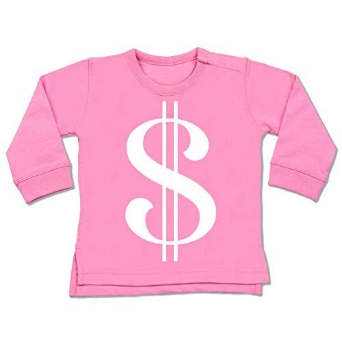 Shirtracer Karneval und Fasching Baby - Dollar Kostüm weiß - 6-12 Monate - Pink - BZ31 - Baby Pullover (Dollar Baby Kostüm)