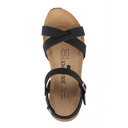 JOE N JOYCE Manila Synsoft Nubuk sottopiede morbido sandali Black