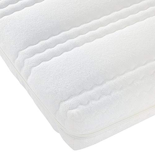 Best For Kids Kinderbett-Matratze Kesja 60x120x10 cm bis 90x200x14 cm, Qualität nach Ökotex 100 - Standard und TÜV Gesteppte und Weiche Kindermatratze aus Frottee mit Trittkante (90x200x14 cm)