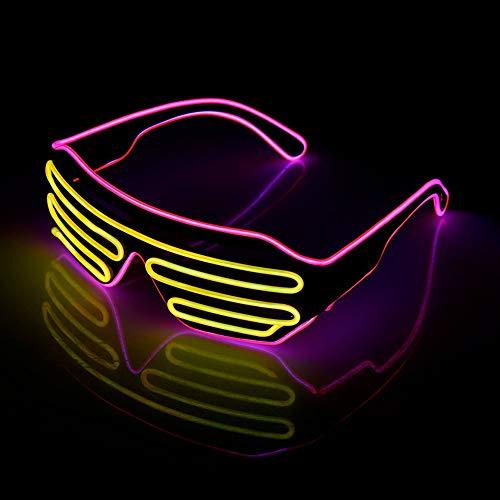 JYYC 2 pairs Standard Leuchtende LED Gläser EL Draht Mode Neon Kaltlicht Sonnenbrille für Tanzparty Bar Treffen Glühen Rave Kostüm Atmosphäre Activing DJ Helle Requisiten