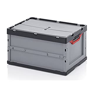 Profi-Faltbox mit Deckel 5er Set, Auer Packaging | Behälter Stapelbehälter Aufbewahrungskiste Transportbox Plastikbox Klappbox | FBD 64/32, 60x40x32 cm, 67 Liter,