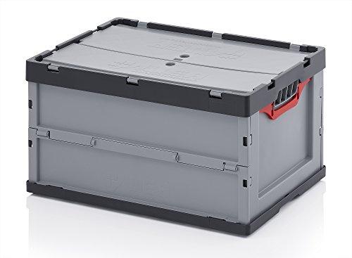 Profi-Faltbox mit Deckel 5er Set, Auer Packaging | Behälter Stapelbehälter Aufbewahrungskiste Transportbox Plastikbox Klappbox | FBD 64/32, 60x40x32 cm, 67 Liter, (Kunststoff-lebensmittel-lagerung-kisten)