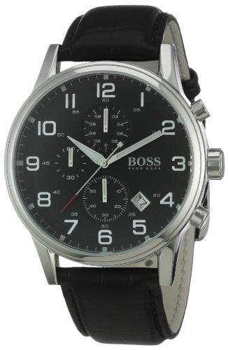Hugo Boss Boss Black - Reloj analógico de caballero de cuarzo con correa de piel negra